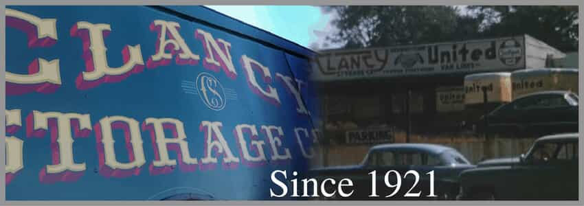 "Two pictures of old Clancy Storage and Clancy United signs with text that says ""Since 1921"""